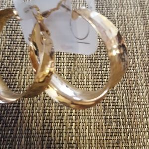 Hammered Gold Tapered Hoops